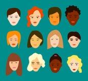 Grupo liso de doze mulheres diferentes Projeto simples ilustração royalty free