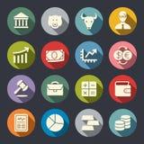 Grupo liso do ícone da bolsa de valores Ilustração do vetor ilustração do vetor