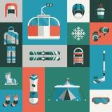 Grupo liso do ícone da engrenagem dos esportes de inverno ilustração stock