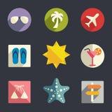 Grupo liso do ícone das férias ilustração royalty free