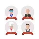 Grupo liso do ícone das profissões fotos de stock