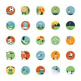 Grupo liso do ícone de ícone dos esportes Imagem de Stock Royalty Free