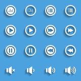 Grupo liso do ícone do áudio e da música, ícone liso do projeto, vetor eps10 Imagem de Stock