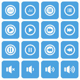 Grupo liso do ícone do áudio e da música, ícone liso do projeto, vetor eps10 Imagens de Stock