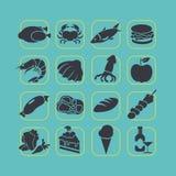 Grupo liso do ícone do alimento do estilo Imagem de Stock