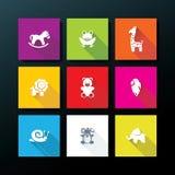 Grupo liso do ícone do brinquedo do bebê do vetor Fotografia de Stock Royalty Free