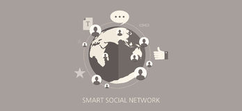 Grupo liso do ícone do conceito da rede social moderna e clássica Imagens de Stock Royalty Free