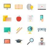 Grupo liso do ícone do ensino eletrónico da educação coleção em linha do vetor da educação do Internet Fotos de Stock Royalty Free