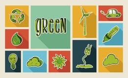 Grupo liso do ícone do estilo do esboço da ecologia Fotos de Stock