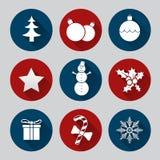 Grupo liso do ícone do Natal Imagens de Stock