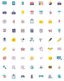 Grupo liso do ícone do negócio e do escritório Imagens de Stock Royalty Free