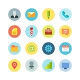 Grupo liso do ícone do negócio no fundo colorido Imagem de Stock Royalty Free
