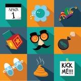 Grupo liso do ícone do projeto de April Fools Day Imagens de Stock