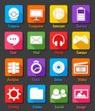 Grupo liso do ícone do projeto do Desktop do computador Imagens de Stock