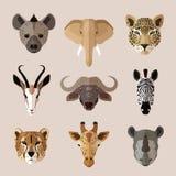 Grupo liso do ícone do retrato animal Fotos de Stock Royalty Free