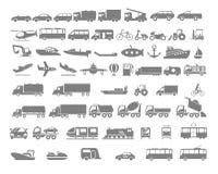 Grupo liso do ícone do veículo e do transporte Fotografia de Stock Royalty Free
