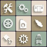 Grupo liso do ícone do vetor da manutenção do serviço do carro. Imagem de Stock