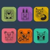 Grupo liso do ícone do vetor do Avatar dos animais do estilo Imagens de Stock Royalty Free