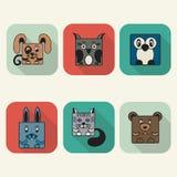 Grupo liso do ícone do vetor do Avatar dos animais do estilo Imagem de Stock
