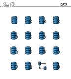 Grupo liso do ícone dos dados Fotos de Stock Royalty Free