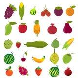 Grupo liso do ícone dos frutos do projeto do vetor Imagem de Stock Royalty Free