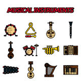 Grupo liso do ícone dos instrumentos musicais ilustração do vetor