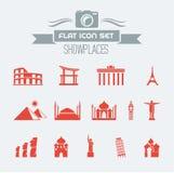 Grupo liso do ícone dos marcos Imagens de Stock Royalty Free