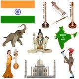 Grupo liso do ícone dos símbolos indianos do vetor Fotografia de Stock Royalty Free