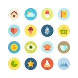 Grupo liso do ícone no fundo colorido Foto de Stock Royalty Free