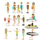 Grupo liso do ícone do vetor dos povos do verão Imagem de Stock Royalty Free