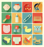 Grupo liso do bebê dos ícones Imagem de Stock Royalty Free