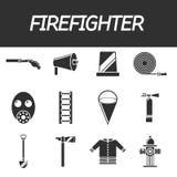 Grupo liso do ícone do sapador-bombeiro Fotografia de Stock Royalty Free