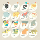 Grupo liso do ícone dos animais do vetor do projeto Crianças do jardim zoológico Foto de Stock Royalty Free