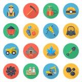 Grupo liso do estilo dos ícones da mineração ilustração royalty free