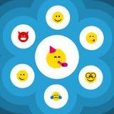 Grupo liso do gesto do ícone de amuar, de alimento agradável, delicioso e de outros objetos do vetor Igualmente inclui Emoji, agr ilustração stock