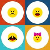 Grupo liso do gesto do ícone de objetos da carícia, os alegres, os tristes e o outro do vetor Igualmente inclui beijo, confuso, e Fotos de Stock