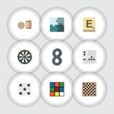 Grupo liso do jogo do ícone de tabela da xadrez, de loteria, de cubo e de outros objetos do vetor Igualmente inclui o jogo, Alpha ilustração royalty free