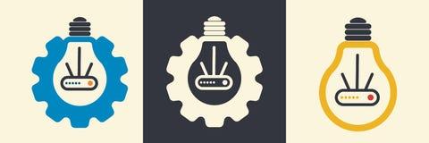 Grupo liso do logotipo do vetor do conceito esperto da casa LI-FI ilustração royalty free