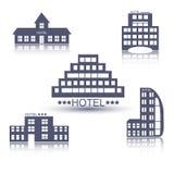 Grupo liso do projeto das construções do hotel Fotos de Stock Royalty Free
