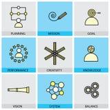 Grupo liso do projeto de linha ícones do vetor do objetivo Ta da missão do planeamento ilustração stock