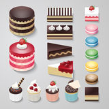 Grupo liso do vetor da padaria da sobremesa do projeto dos bolos Fotos de Stock