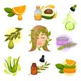 Grupo liso do vetor de ícones relativos ao tema cosmético natural Petróleos essenciais Produtos dos cuidados com a pele das plant ilustração do vetor