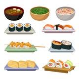 Grupo liso do vetor de alimento japonês tradicional Sopas, bolas de arroz na vara de madeira e tipos diferentes do sushi delicios ilustração do vetor