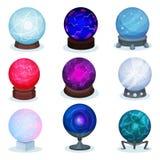 Grupo liso do vetor de bolas mágicas Esferas de vidro coloridas Objeto para a previsão do futuro Elementos para o jogo móvel ou ilustração royalty free
