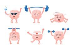 Grupo liso do vetor de cérebros humanizados com braços e pés em ações diferentes Caráteres do monstro na cidade Emoji para o soci ilustração stock