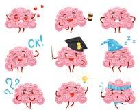 Grupo liso do vetor de cérebros humanizados cor-de-rosa em situações diferentes Caráteres do monstro na cidade Órgão humano ilustração royalty free