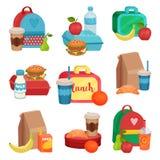 Grupo liso do vetor de composições coloridas com alimento da escola Refeição saboroso Frutos, bebidas e sanduíches deliciosos ilustração stock