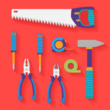 Grupo liso do vetor de ferramentas Imagens de Stock Royalty Free