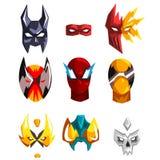 Grupo liso do vetor de máscaras dos super-herói Atributo da roupa para o partido trajado Caras dos heróis Projeto para suportes d ilustração royalty free