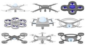 Grupo liso do vetor de quadcopters diferentes Veículos aéreos 2nãos pilotado Zangões do voo Tecnologia moderna ilustração do vetor